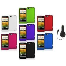 Color Hard Snap-On Rubberized Case Cover Accessory+RET Charger for HTC One V