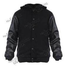 ANGEL COLA HOODIE BLACK VARSITY BASEBALL LETTERMAN WOOL & LEATHER COLLEGE JACKET