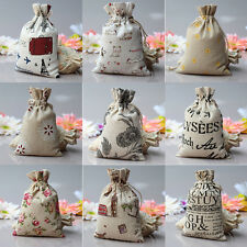 1/5/10x Small Burlap Jute Hessian Wedding Favor Gift Bag Drawstring PouchSack JR