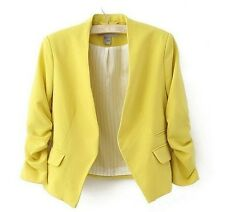 Women Blazer Candy Color Lady Coat Slim Solid Three Quarter Sleeve Blazer