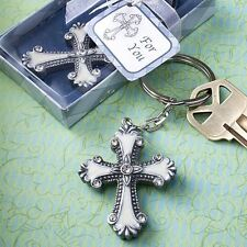 6 X Cross Keyring Keychain Baptism Christening Confirmation Wedding Party Favour