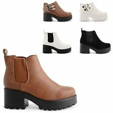 WOMENS LADIES PLATFORM CLEATED SOLE CHUNKY BLOCK HEEL ANKLE BOOTS SHOES SIZE NEW