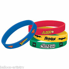 4 DC Comics JUSTICE LEAGUE Children's Party Favours Loot Gifts Rubber Bracelets