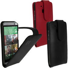 Genuine Leather Flip Case Cover Holder for HTC One M8 2014 + Screen Protector