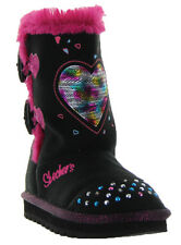 SKECHERS Twinkle Toes Keepsakes Heart Warmer Toddler Girl's Light Up Boots, Blk