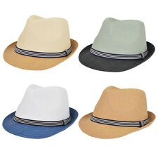 Premium 2 Tone Fedora Straw Hat with Striped Band - Different Colors Available