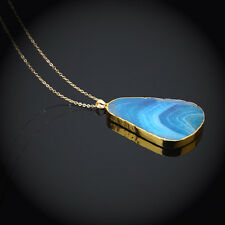 Trendy Polished Natural Crystal Gemstone Pendant Womens Sweater Chain Necklace