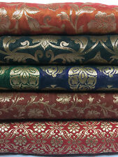 "Pure Silk Indian Banarsi Floral Woven Golden Metallic Brocade 45"" M260 Mtex"