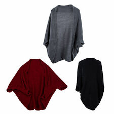 Women Batwing Top Knit Cape Cardigan three quarter sleeve Knitwear HY