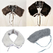New Ladies Faux Fur Shawl Wrap Ribbon Bow Collar Wrap Scarf HY