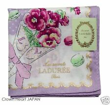 LADUREE Paris Handkerchief / Mini Neckscarf Dot Flower Macaron L.Purple Rare!