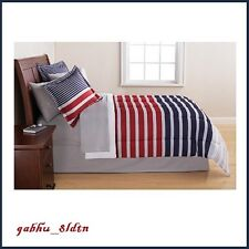Nautical Comforter Set 8-Pieces Striped Bedding Shams Bed Skirt FULL, KING