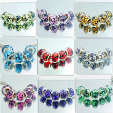 Hot 5pcs Silver Charm flower Spacer Beads Fit EUROPEAN Charm Bracelets