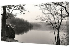 Misty Morning Lake Black/White LARGE Canvas Wall Art Picture Wall Hanging Print
