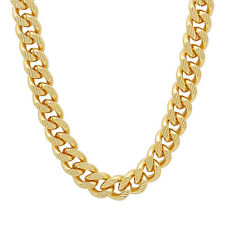 Men's Classic Long 11mm 14K Yellow Gold-Plated Open Cuban Link Curb Chain