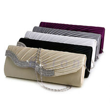 Diamante Satin Pleated Crystal Evening Handbag Wedding Bridal Party Clutch Purse