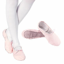 Girls Children's Womens Leather Ballet Slippers Shoes Full Sole Pink Sizes