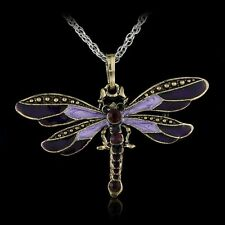 Women Retro Jewelry Crystal Dragonfly Pendant Necklace Purple Cute Gift Hot