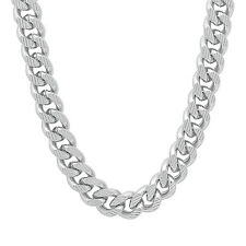 10mm Wide Men's White Gold Silver Plated/Layered/Plated Cuban Link Curb Chain