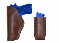 New Barsony Brown Leather IWB Holster + Mag Pouch Browning Colt Full Size 9mm 40