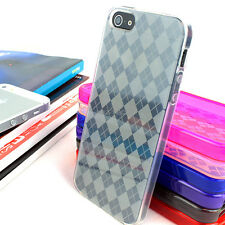 For Apple iPhone 5S 5 Colorful Argyle Hard Gel TPU Skin Case Cover Accessory