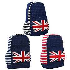 Premium Union Jack UK Flag Polka Dot Canvas Backpack School Shoulder Bag