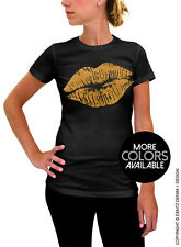 Lips Kiss - Black Women's T-Shirt - Ink Colors in Pink, Gold and Silver