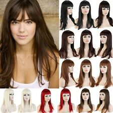 Synthetic Long Straight Full Hair Wigs Cosplay Party Fancy Dress Silky Black B59