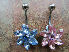 316L Surgical Steel Crystal Flower Navel Belly Button Ring Bar