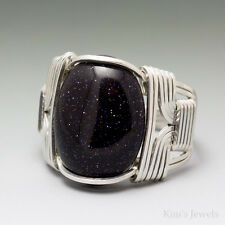 Blue Goldstone Sterling Silver Wire Wrapped Cabochon Ring