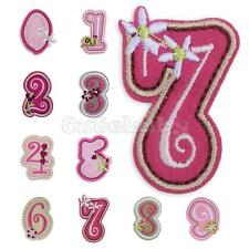Floral Numbers 0-9 Embroidered Applique Iron-On Sew On Patch Motif Cloth Decor