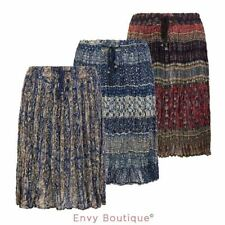 WOMENS LADIES COTTON VINTAGE RUFFLE FRILL RETRO SUMMER GYPSY SKIRT 8-16