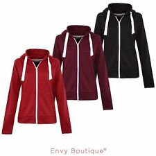 New Womens Ladies Plain Zip Hoodie Zip Top Hooded Sweatshirt Hoody Jacket