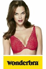 Wonderbra Refined Glamour Padded Push Up Plunge Bra W02LN Pink or Red