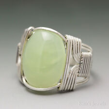 New Jade Sterling Silver Wire Wrapped Cabochon Ring