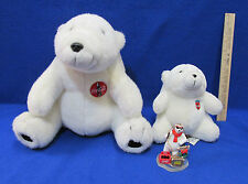 Coca Cola Polar Bears Plush Stuffed Animal Toy & Coke Bear Ornament Lot of 3