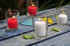 Set of 48 Clear Glass Votive Holders + 48 Votive Candles (Choose From 10 Colors)