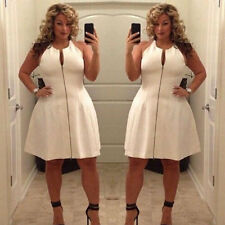 Plus Size Sexy Ladies Summer Casual Bandage Bodycon Party Evening Zipper Dress