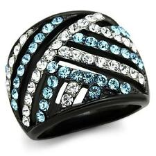 Black Stainless Steel Aquamarine Aqua Blue & Clear CZ Wide Band Dome Round Ring