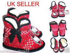 Infant Girls Kids Official HELLO KITTY Bootie Slippers Warm Boots Size 4-12 UK