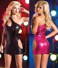 Sexy Women's Lingerie Shiny Open Side Spandex PVC Clubwear Minidress Stripper