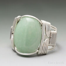 Green Aventurine Sterling Silver Wire Wrapped Cabochon Ring
