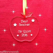 Personalised Teachers Thank You Assistant Apple Gift Decoration FREE ORGANZA BAG