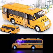 1:32 Yellow School Bus Diecast Model Toy Pull Back Openable Door w/ Light UI
