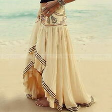 Summer Womens Bohemian Floral Skirt Maxi Casual Beach Skirt Long Dress