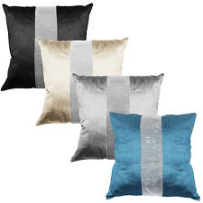 Panache Eclat Diamante Strip Cushion Cover 43 x 43 cm Black Cream Silver or Teal
