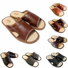 New Mens Brown Black Leather Slippers Size7 8 9 10 11 12 Flip Flop Sandals Gift