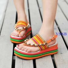 Ethnic Women Elastic Strappy Wedges Platform Boho Beaded Sandals Summer Shoes Sz