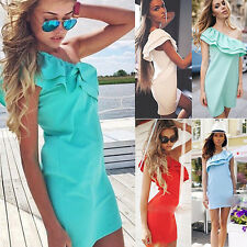 New Womens Sexy Off Shoulder Summer Casual Beach Evening Party Short Mini Dress