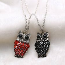 NEW Crystal Rhinestone Red Black Owl Pendant Long Necklace Sweater Chain Hot
